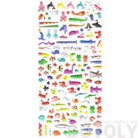 Sea Creatures Themed Walrus Penguin Dolphin Fish Shaped Puffy Stickers