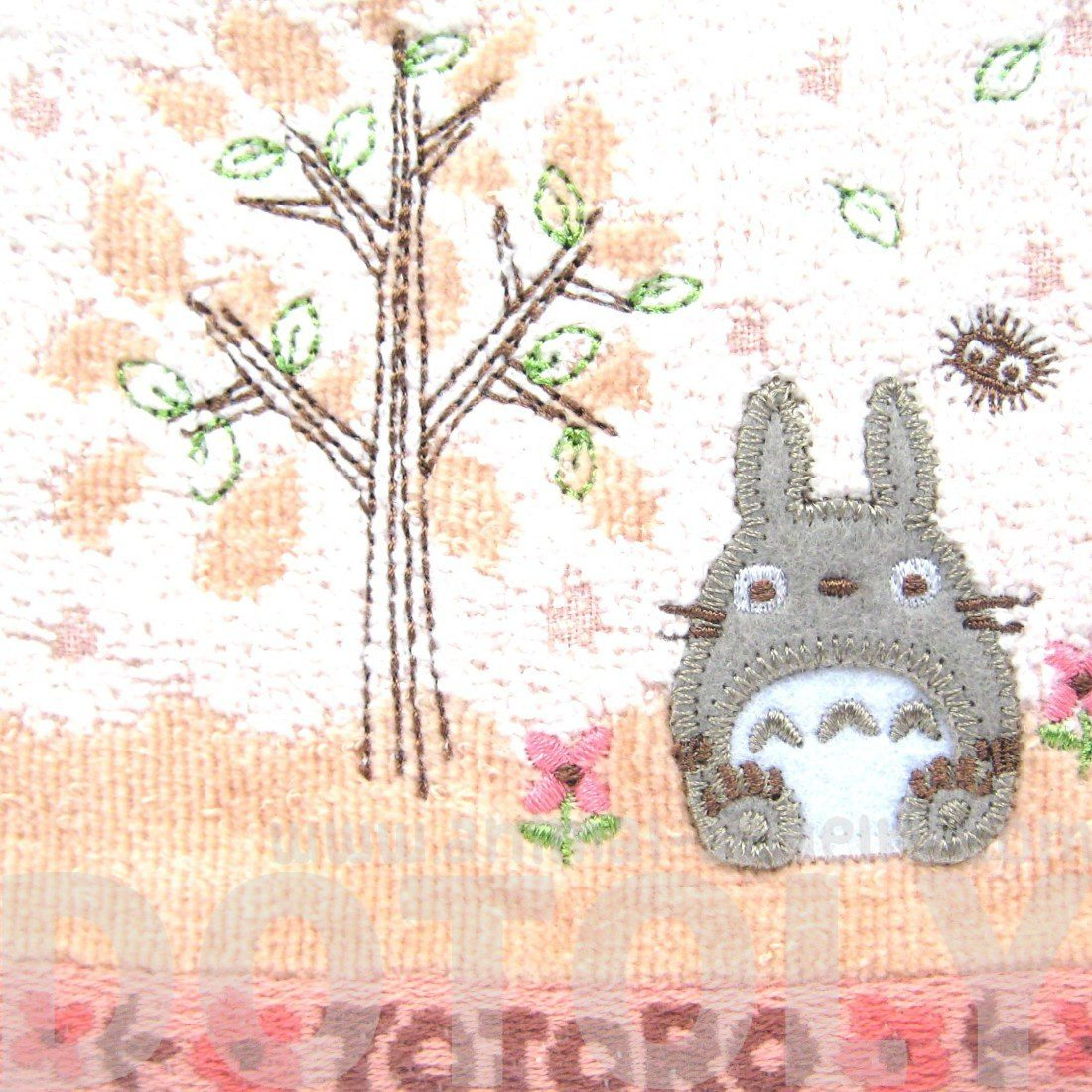 Small My Neighbor Totoro Embroidered Bath Wash Scrub Towel in Pink
