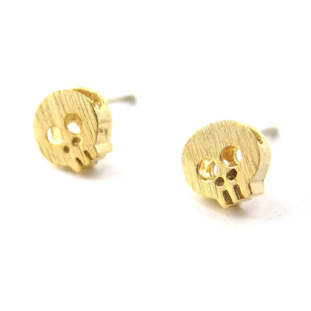 Tiny Skull Shaped Skeleton Stud Earrings in Gold with Sterling Silver Posts