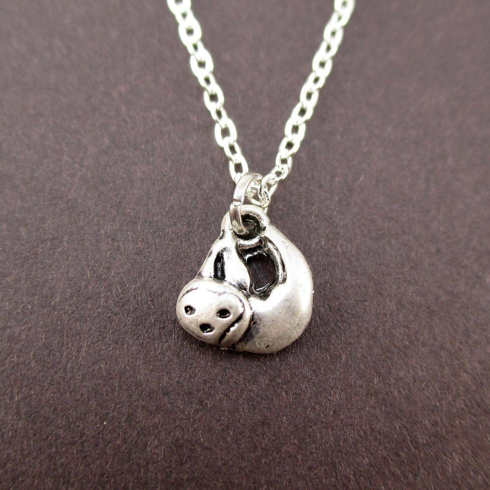 Tiny Sloth Shaped Charm Necklace in Silver | Animal Jewelry