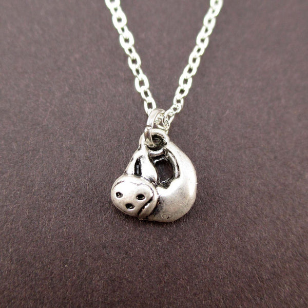 Tiny Sloth Shaped Charm Necklace in Silver | Animal Jewelry | DOTOLY