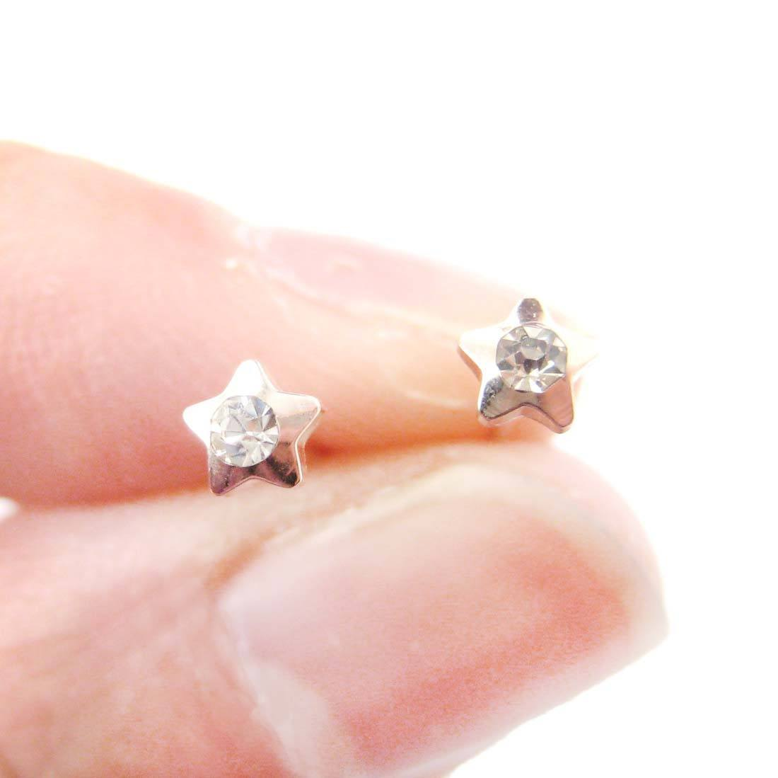 Tiny Star Shaped Stud Earrings in Rose Gold with Rhinestones | DOTOLY