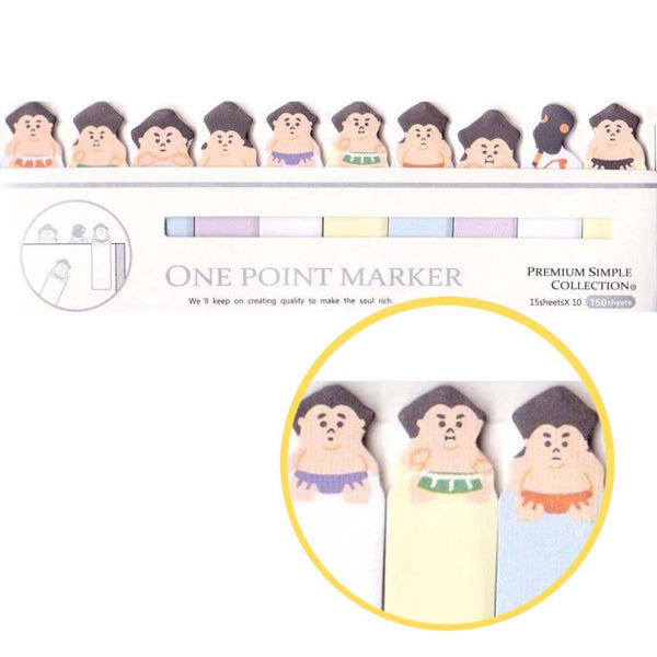 Tiny Sumo Wrestler Shaped Memo Post-it Index Bookmark Tabs From Japan
