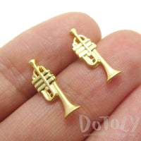 Tiny Trumpet Shaped Music Themed Stud Earrings in Gold