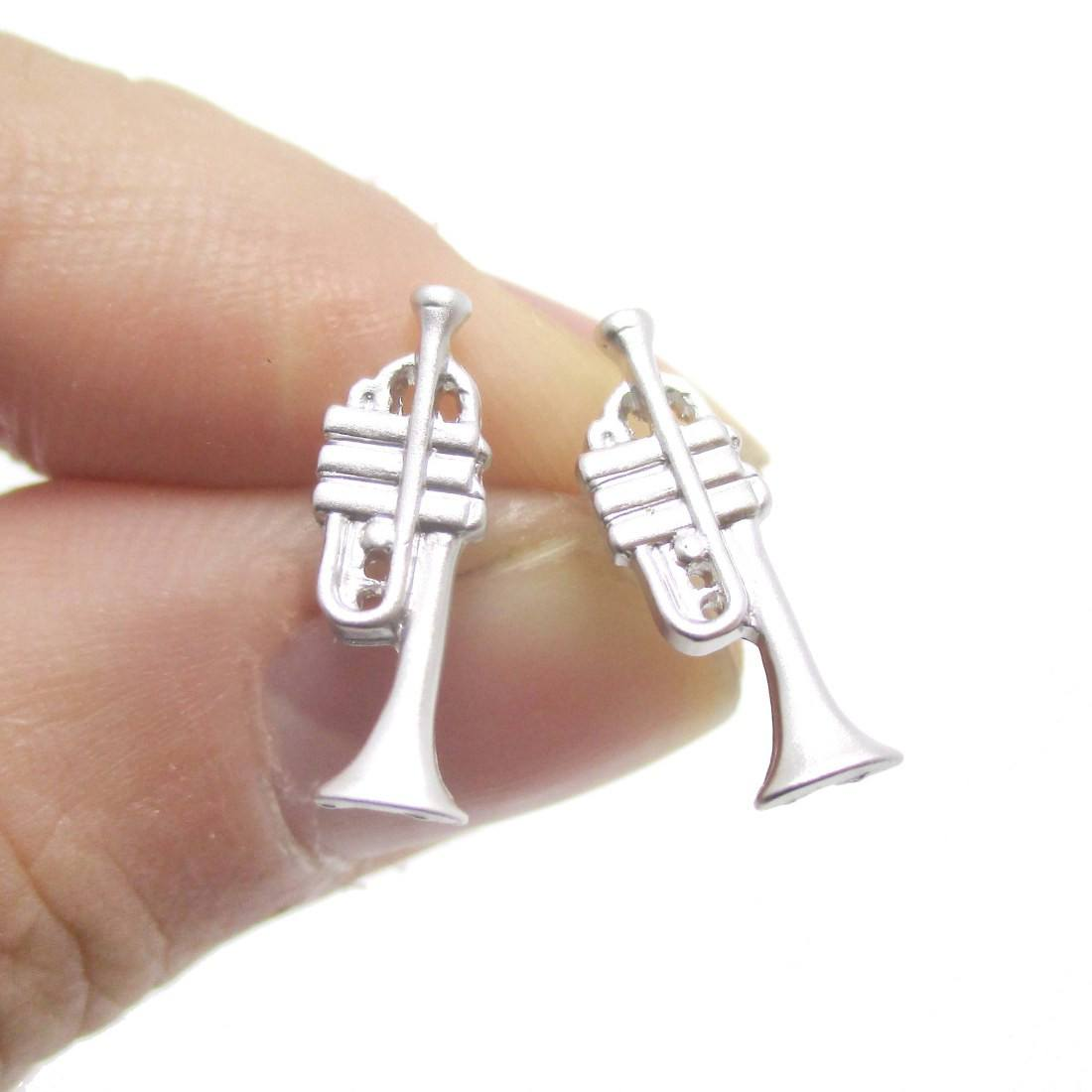 3D Trumpet Shaped Music Themed Stud Earrings in Silver