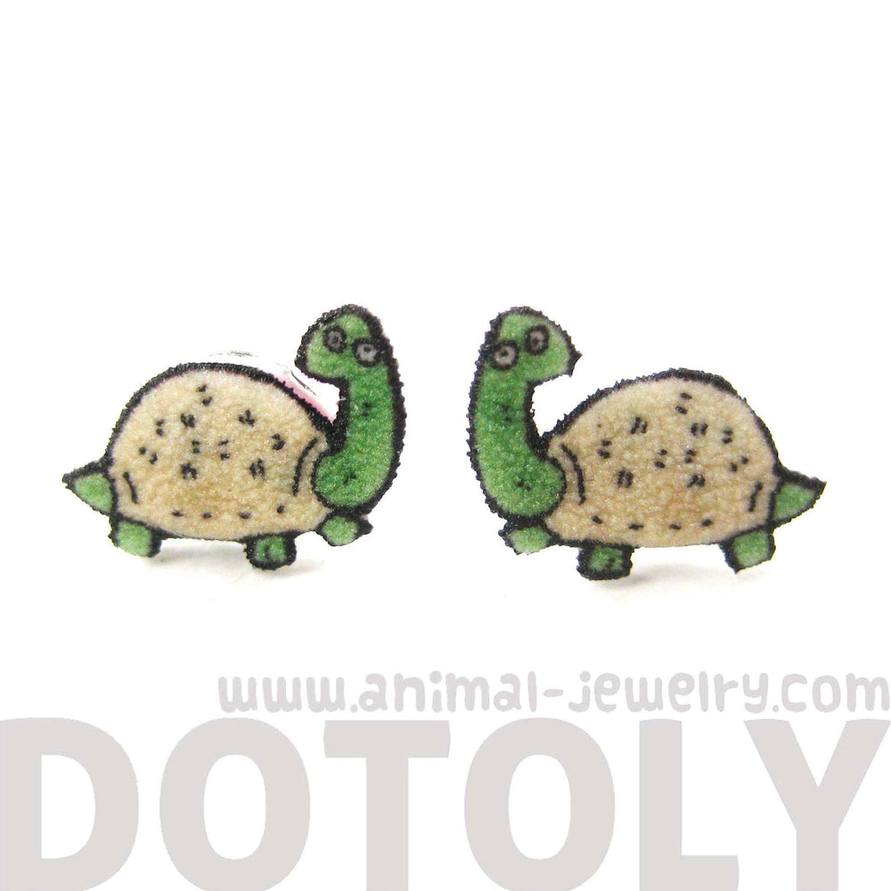 Tiny Turtle Tortoise Animal Illustration Stud Earrings | Shrink Plastic