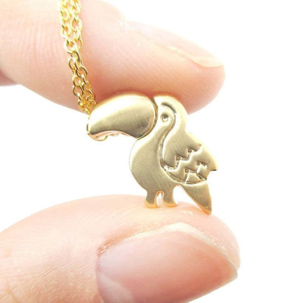 Toucan Shaped Animal Themed Charm Necklace in Gold