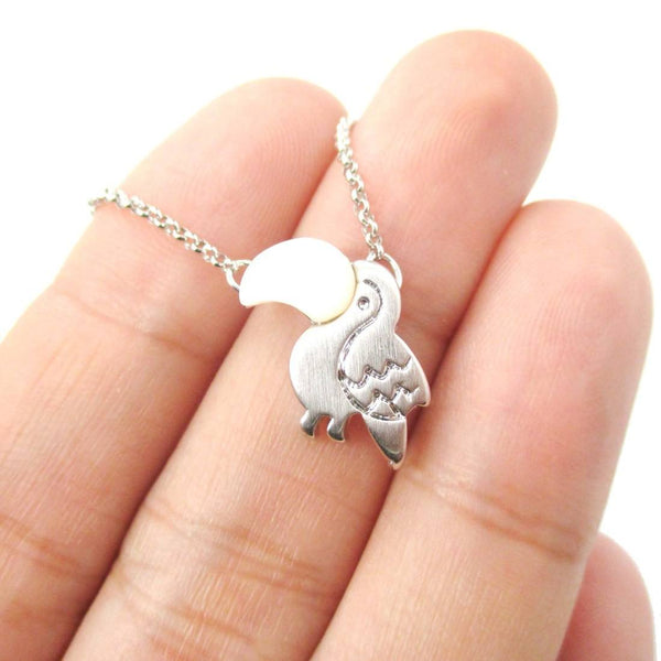 Toucan Shaped Animal Themed Charm Necklace in Silver