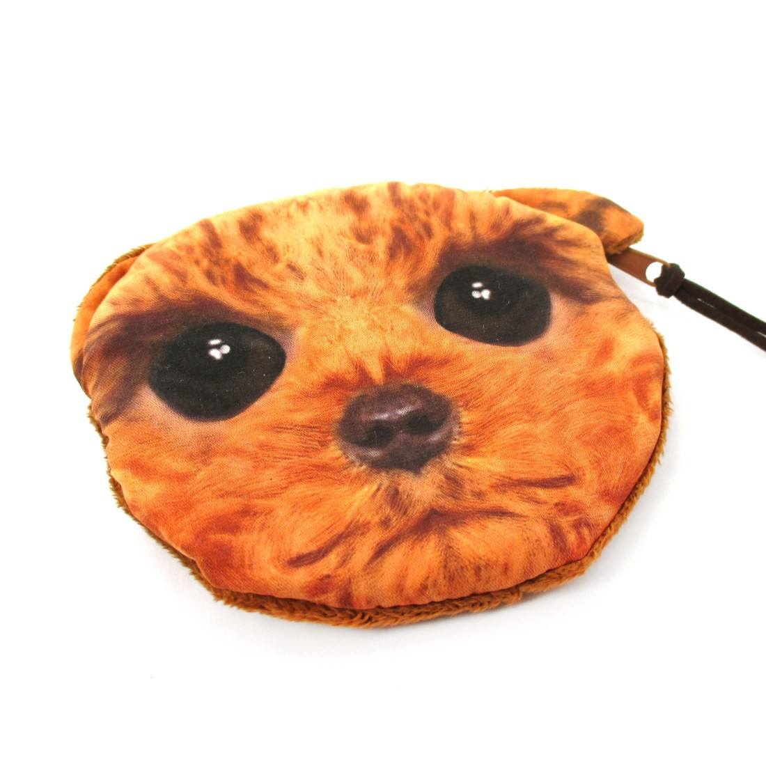 Toy Poodle Dog Face With Big Eyes Shaped Soft Fabric Zipper Coin Purse