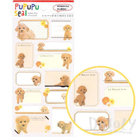 Toy Poodle Puppy Dog Glossy Photo Label Index Stickers