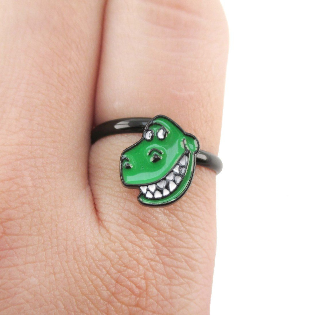 Toy Story Inspired Green Dinosaur Rex Shaped Adjustable Ring | DOTOLY