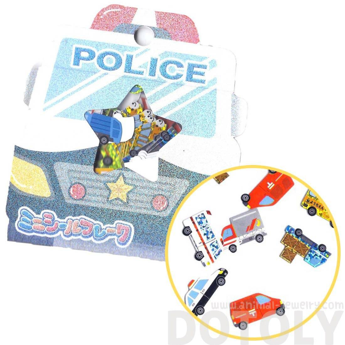 Firetruck Ambulance Police Car Taxi Shaped Japan Sticker Flake Seals