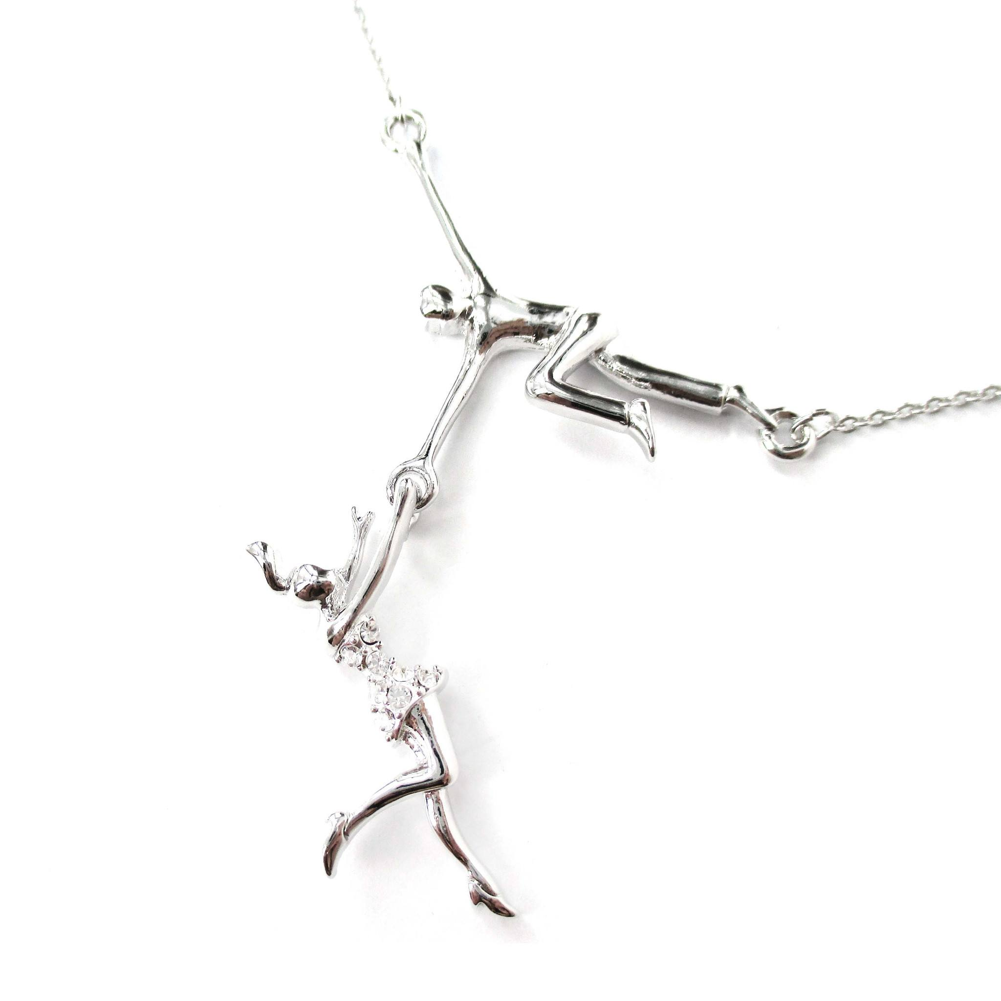 Trapeze Acrobat Pendant Circus Themed Necklace in Silver