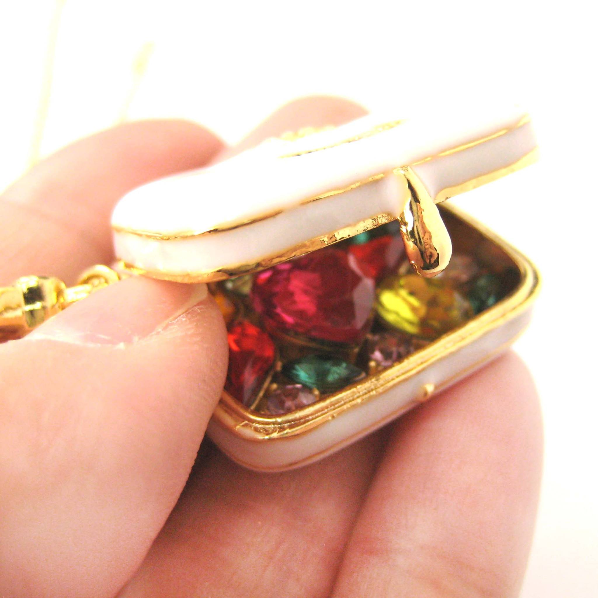 Travel Bag Suitcase Locket Full of Gems Pendant Necklace: It Opens Up!