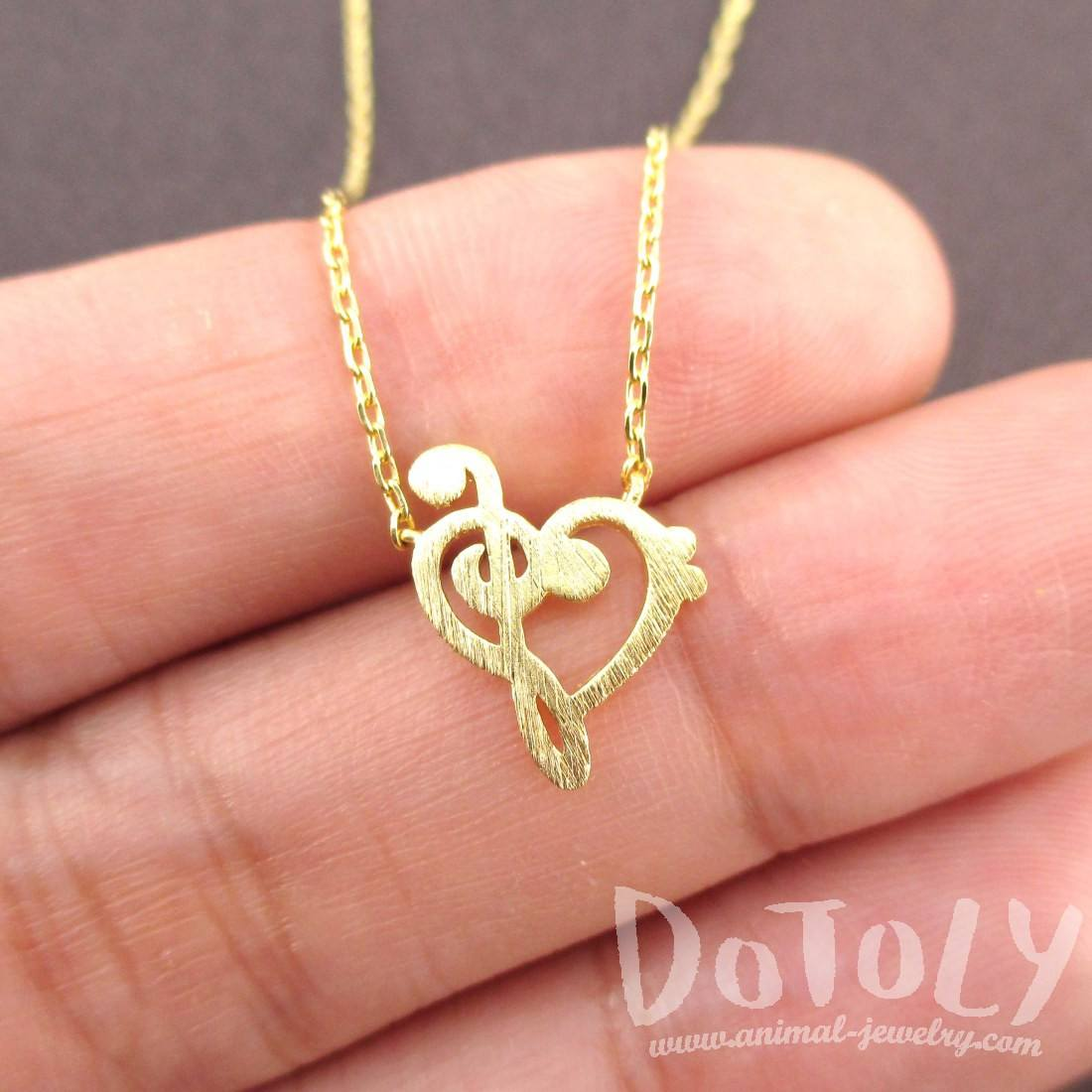 Treble and Bass Clef Heart Shaped Music Lovers Charm Necklace in Gold