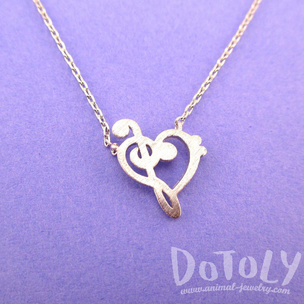 Treble & Bass Clef Heart Shaped Music Lovers Charm Necklace in Silver