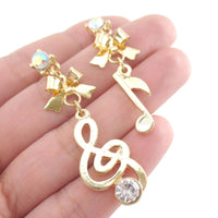 Treble Clef Quaver Musical Note Shaped Stud Earrings