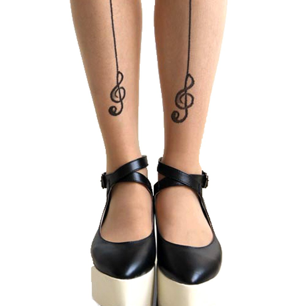 Treble Clef Back Seam Sheer Nude Pantyhose Tattoo Tights for Women