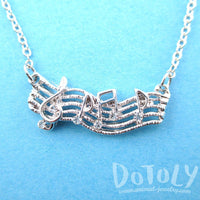Treble Clef Musical Notes Score Shaped Charm Necklace