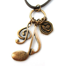 Treble Clef Musical Quaver Note Shaped Charm Necklace in Brass
