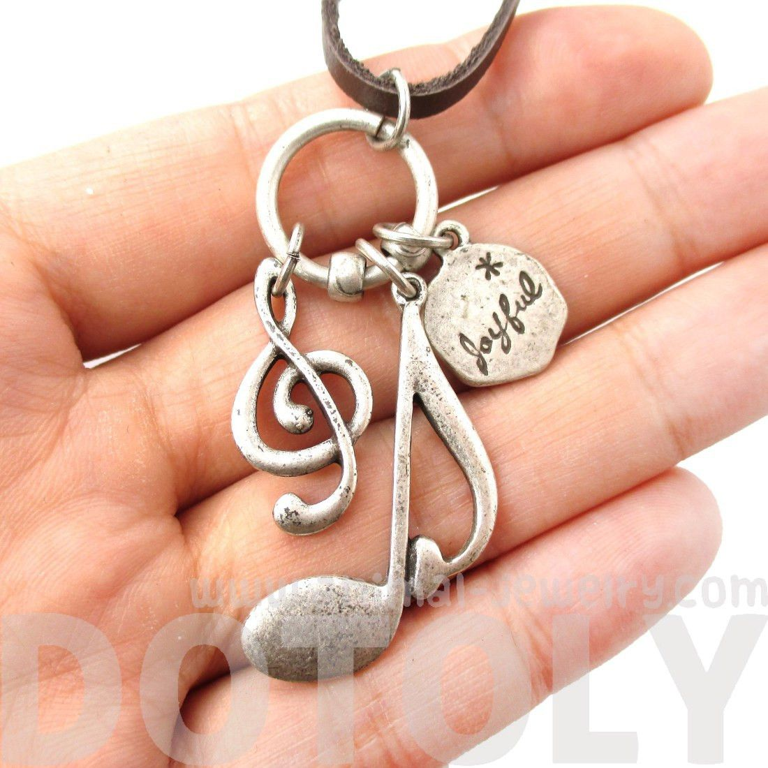 Treble Clef Musical Quaver Note Shaped Charm Necklace in Silver