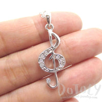 Treble Clef Shaped Rhinestone Charm Necklace in Silver
