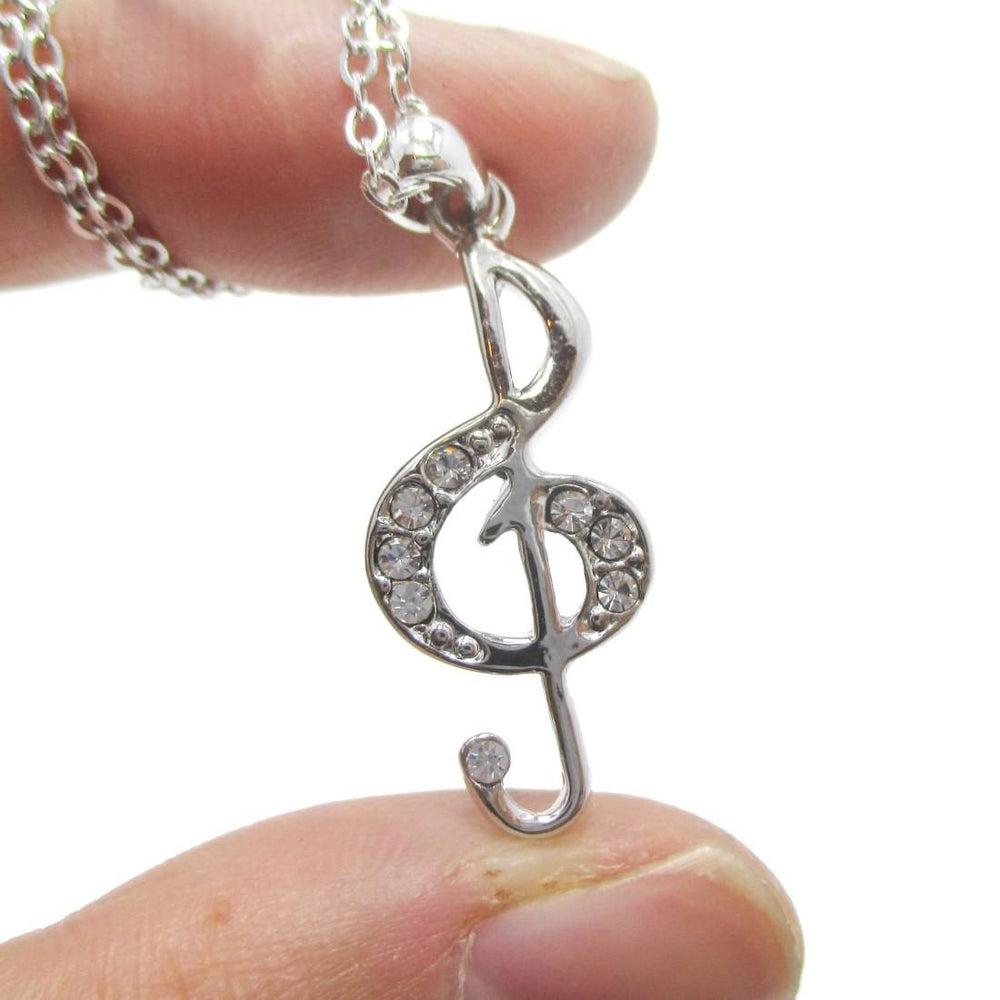 Treble Clef Shaped Rhinestone Pendant Necklace in Silver | Music Themed Jewelry | DOTOLY