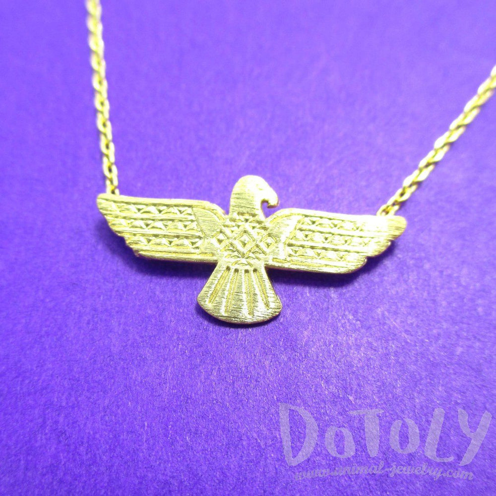 Tribal Eagle Shaped Bohemian Charm Necklace in Gold | DOTOLY | DOTOLY