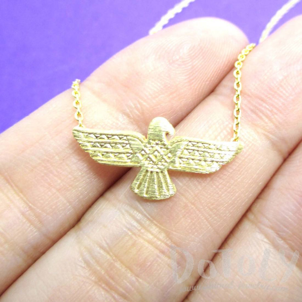 Tribal Eagle Shaped Bohemian Charm Necklace in Gold