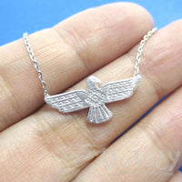 Tribal Eagle Shaped Bohemian Charm Necklace in Silver