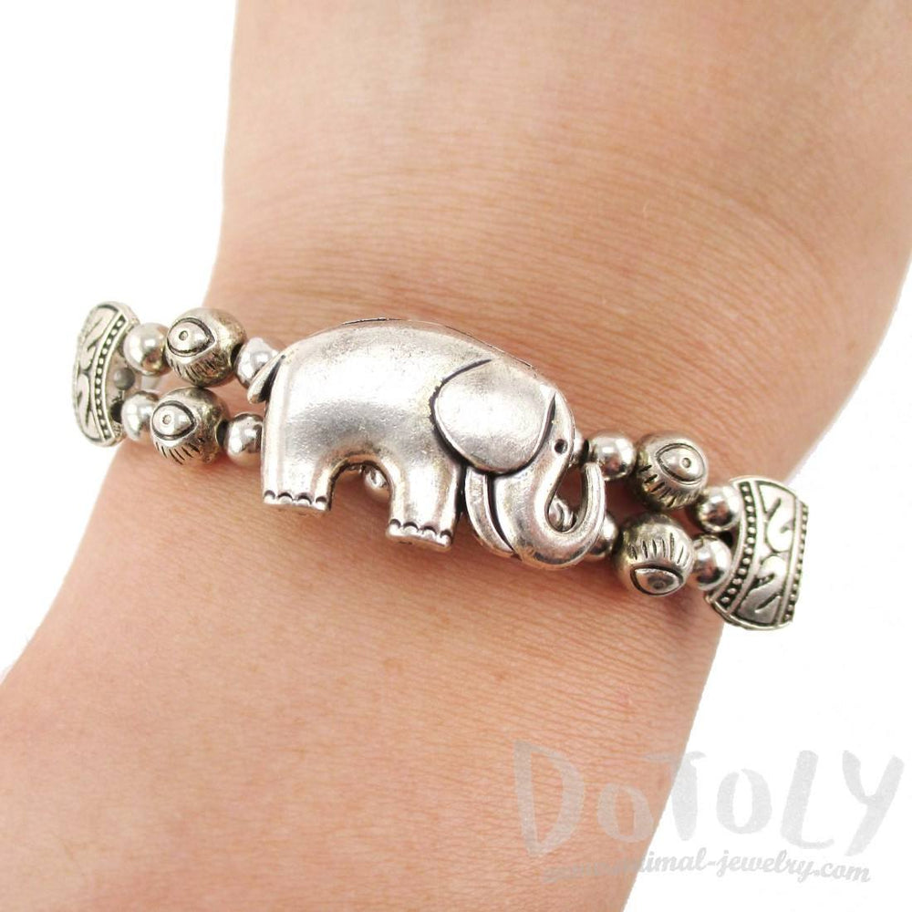 Tribal Inspired Beaded Bracelet with Elephant Charm in Silver | Animal Jewelry | DOTOLY