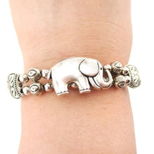 Tribal Inspired Beaded Bracelet with Elephant Charm in Silver | DOTOLY