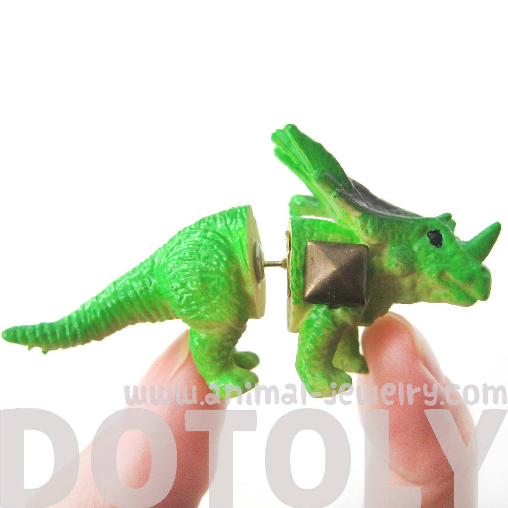 Triceratops Dinosaur Animal Figurine Shaped Fake Gauge Plug Earring in Green
