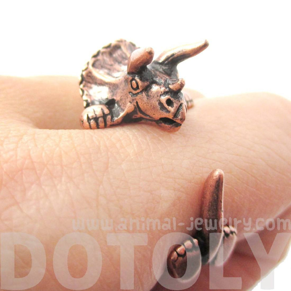 Triceratops Dinosaur Prehistoric Animal Wrap Around Hug Ring in Copper