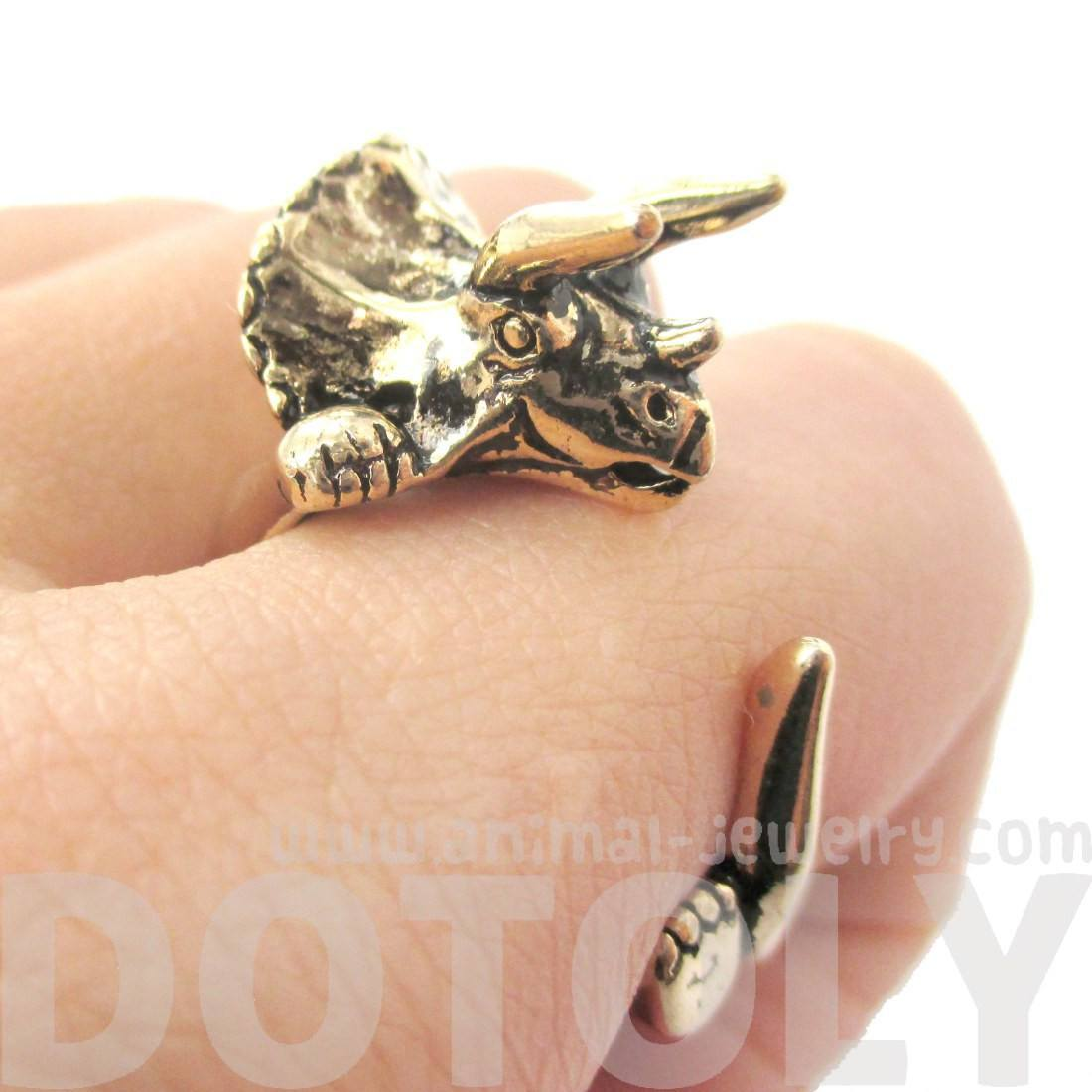 Triceratops Dinosaur Shaped Animal Wrap Around Hug Ring in Shiny Gold