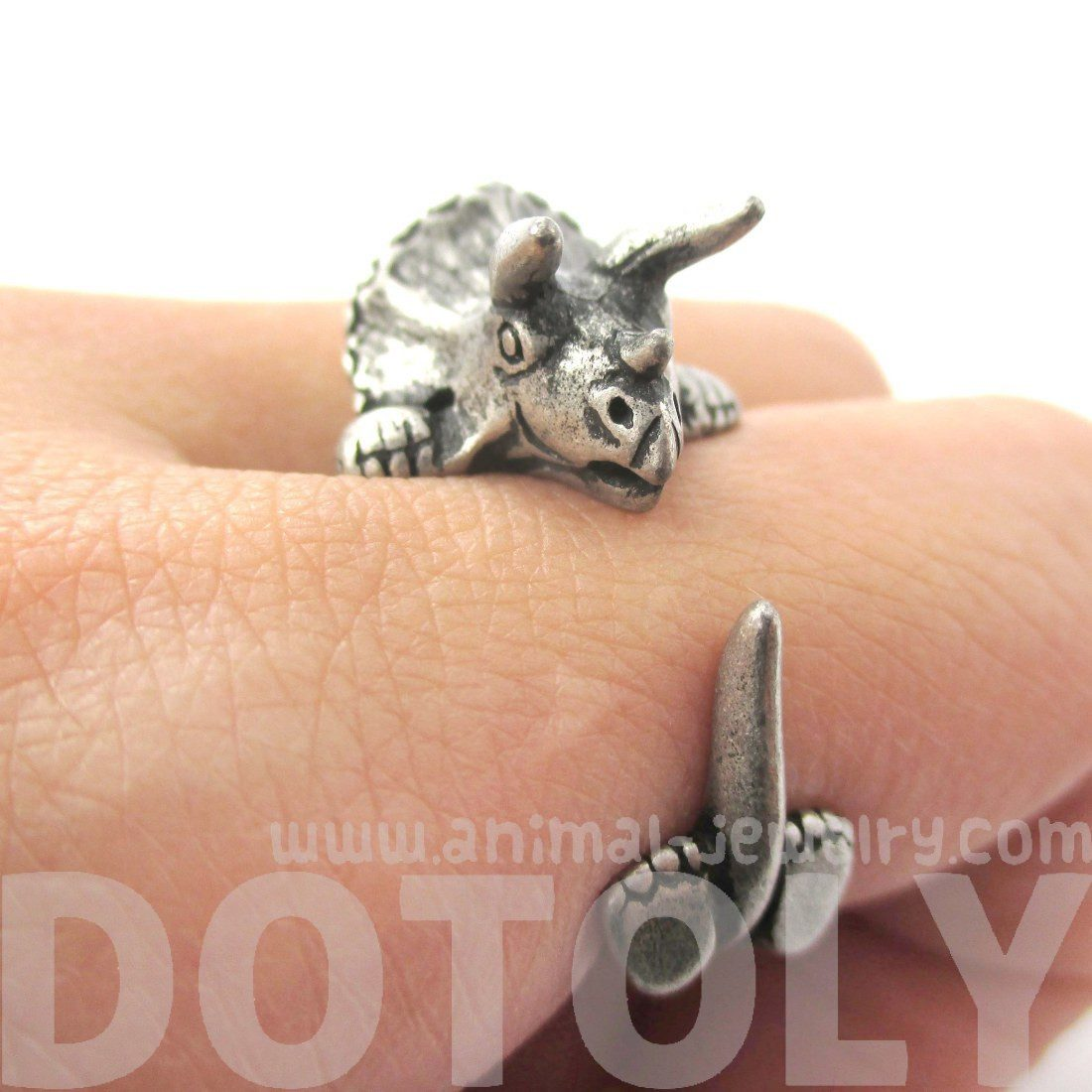 Triceratops Dinosaur Prehistoric Animal Wrap Around Hug Ring in Silver