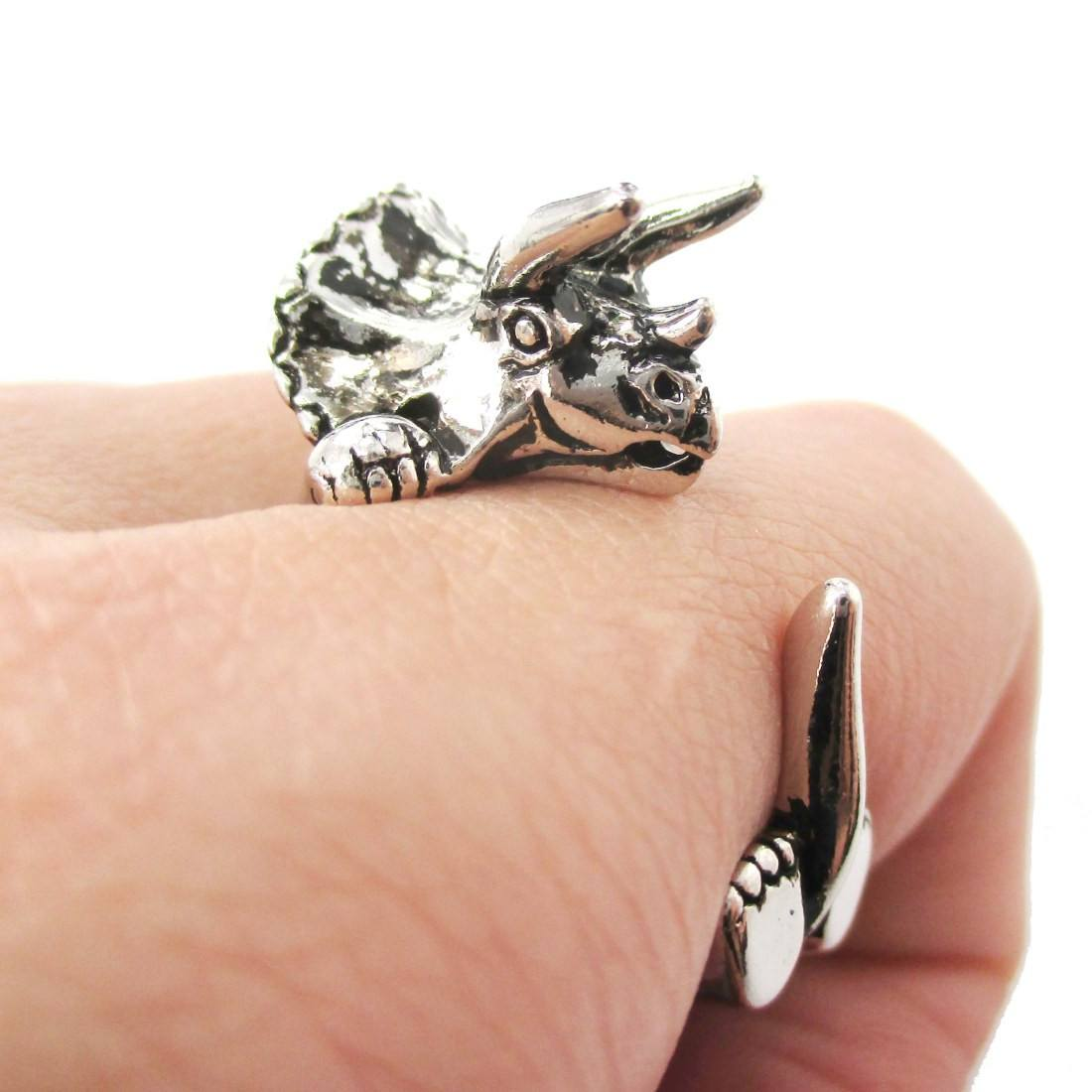 Triceratops Dinosaur Shaped Animal Wrap Around Ring in Shiny Silver