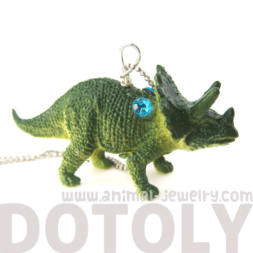 triceratops-dinosaur-shaped-pendant-necklace-in-green-animal-jewelry