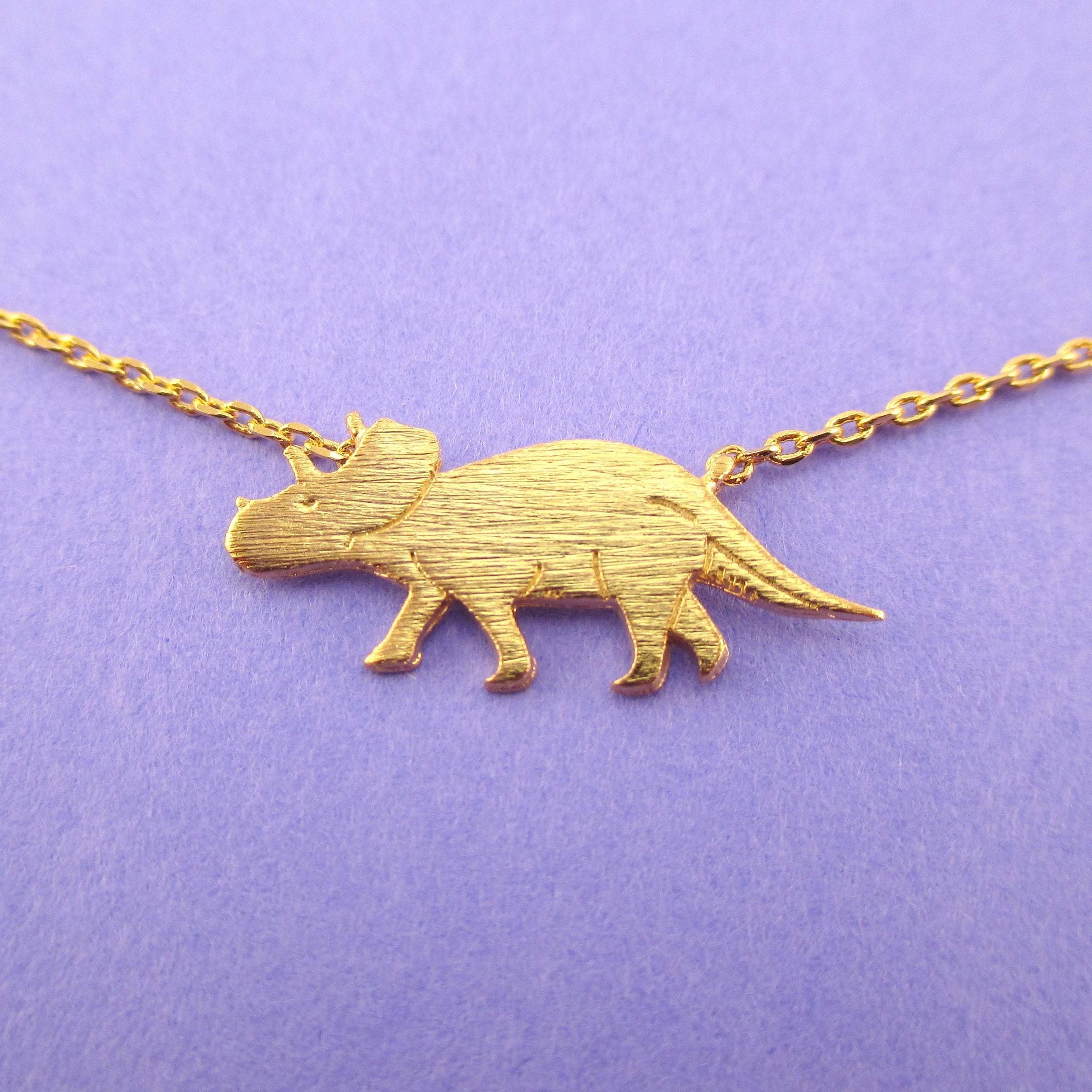 Triceratops Dinosaur Shaped Jurassic World Themed Necklace in Gold