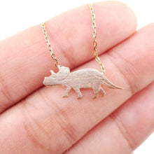 Triceratops Dinosaur Shaped Jurassic World Theme Necklace in Rose Gold