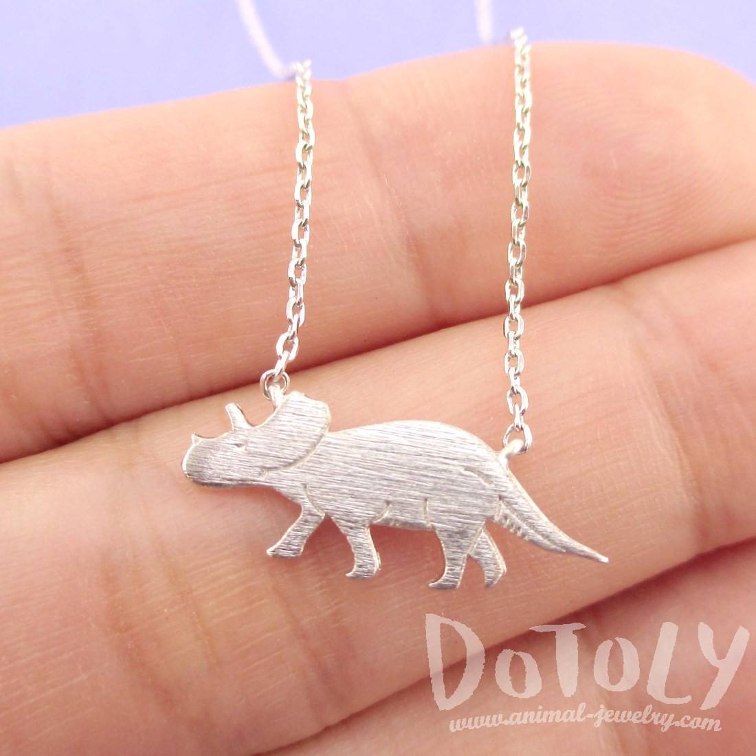 Triceratops Dinosaur Shaped Jurassic World Themed Necklace in Silver