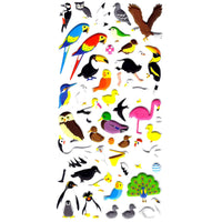 Tropical Bird Animal Themed Owl Peacock Flamingo Parrot Puffy Stickers
