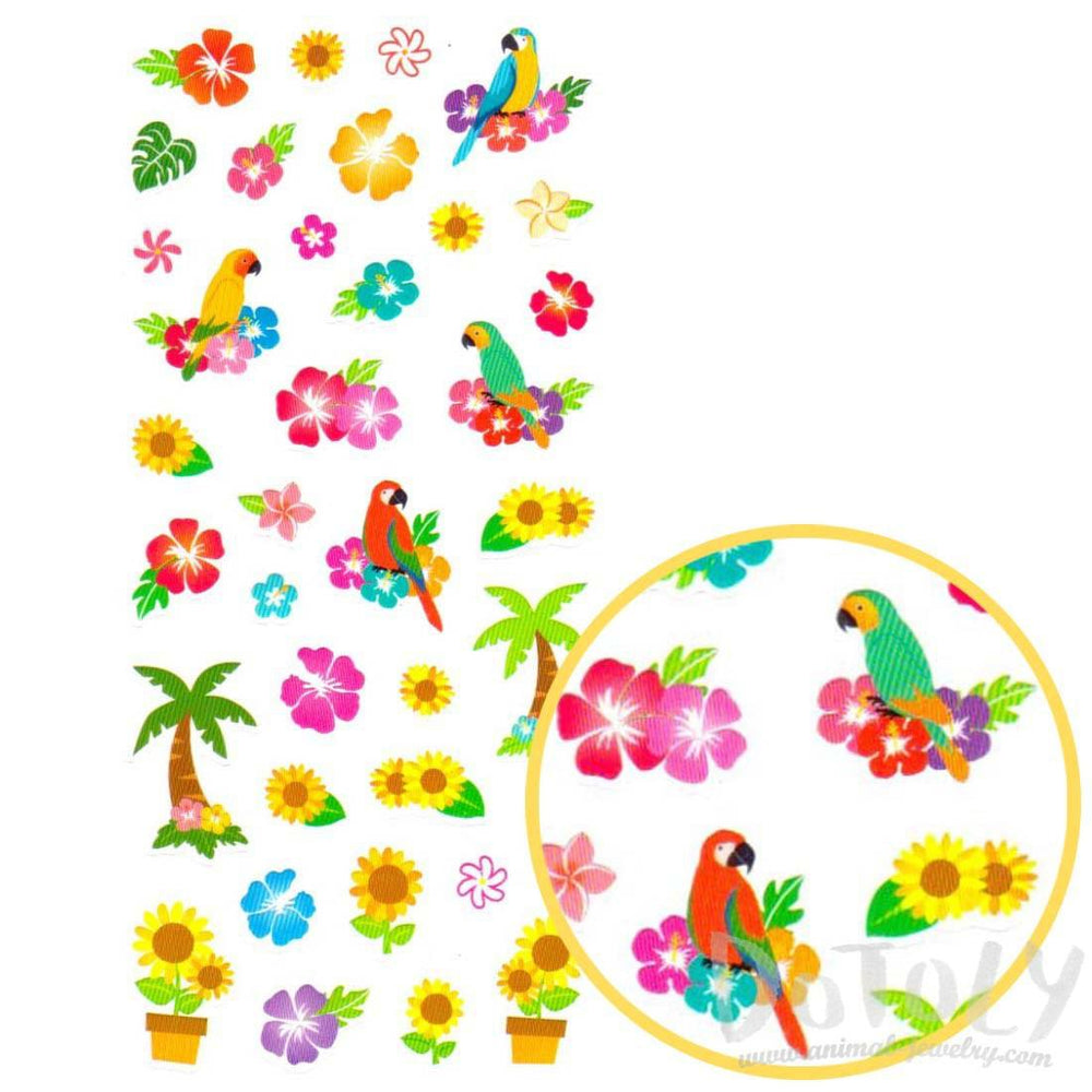 Tropical Birds Parrots and Palm Trees Shaped Stickers