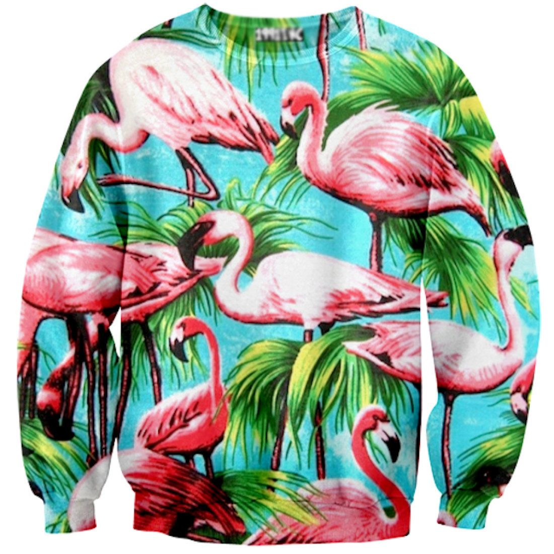 Tropical Flamingo Bird Palm Trees All Over Print Pullover Sweatshirt
