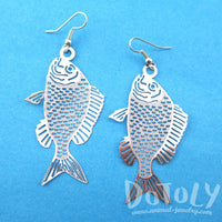 Trout Fish Cut Out Shaped Dangle Earrings in Silver | Animal Jewelry