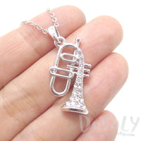 Trumpet Instrument Shaped Rhinestone Pendant Necklace in Silver | For Music Lovers | DOTOLY