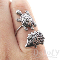 Turtle Hedgehog Wrap Around Adjustable Ring in Silver