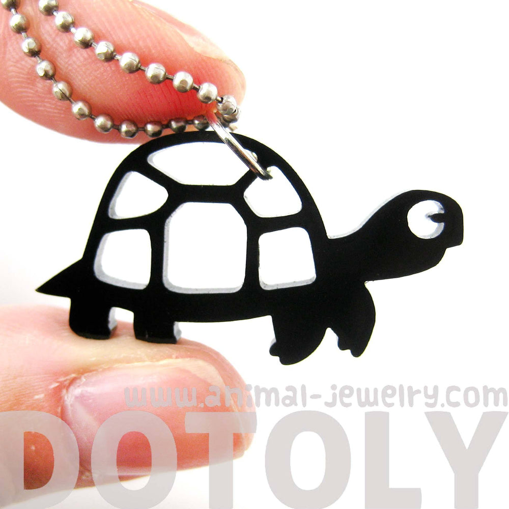 turtle-tortoise-silhouette-shaped-pendant-necklace-in-black-acrylic-animal-jewelry