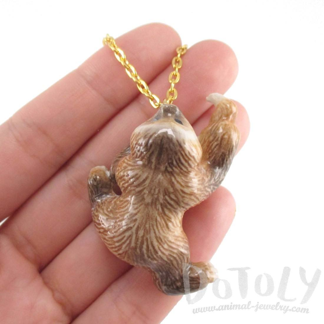 Two Toed Sloth Shaped Dangling Ceramic Animal Pendant Necklace