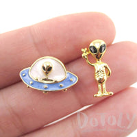 UFO and Alien Shaped Space Themed Enamel Stud Earrings | DOTOLY